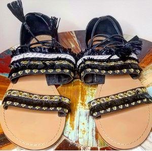 《ASOS》Embellished Bohemian Ankle Wrap Sandals